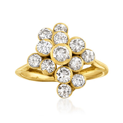 C. 1990 Vintage 1.50 ct. t.w. Diamond Cluster Ring in 18kt Yellow Gold