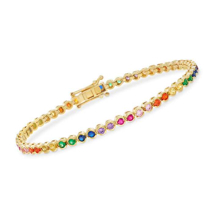 1.20 ct. t.w. Multicolored CZ Bracelet in 18kt Yellow Gold Over Sterling Silver, , default