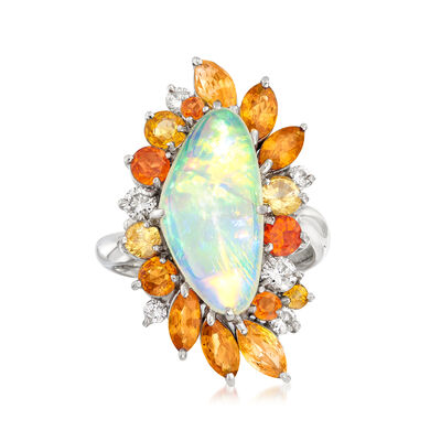 C. 1990 Vintage Opal, 2.85 ct. t.w. Multi-Gemstone and .39 ct. t.w. Diamond Free-Form Ring in Platinum