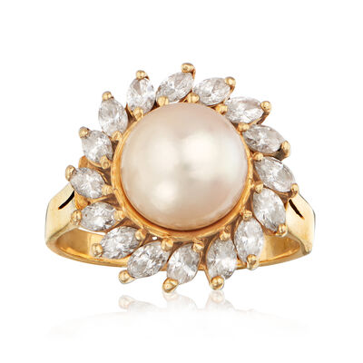 C. 1990 Vintage 8.5mm Cultured Pearl and 1.00 ct. t.w. Diamond Ring in 14kt Yellow Gold