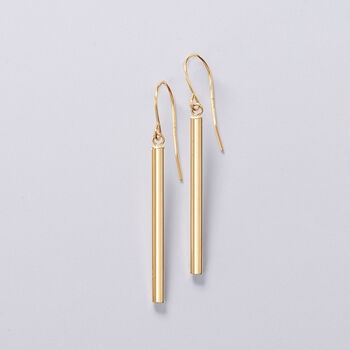 14kt Yellow Gold Linear Drop Earrings, , default