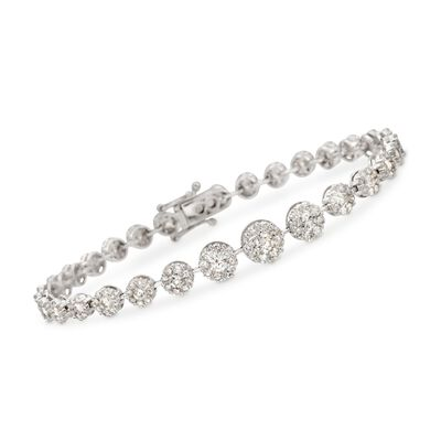 4.63 ct. t.w. Diamond Graduated Halo Bracelet in 18kt White Gold