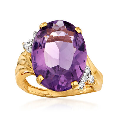 C. 1980 Vintage 10.00 Carat Amethyst and .20 ct. t.w. Diamond Ring in 14kt Yellow Gold, , default