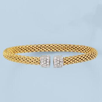 Italian .20 ct. t.w. CZ Cuff Bracelet in 18kt Gold Over Sterling Silver Cuff Bracelet, , default