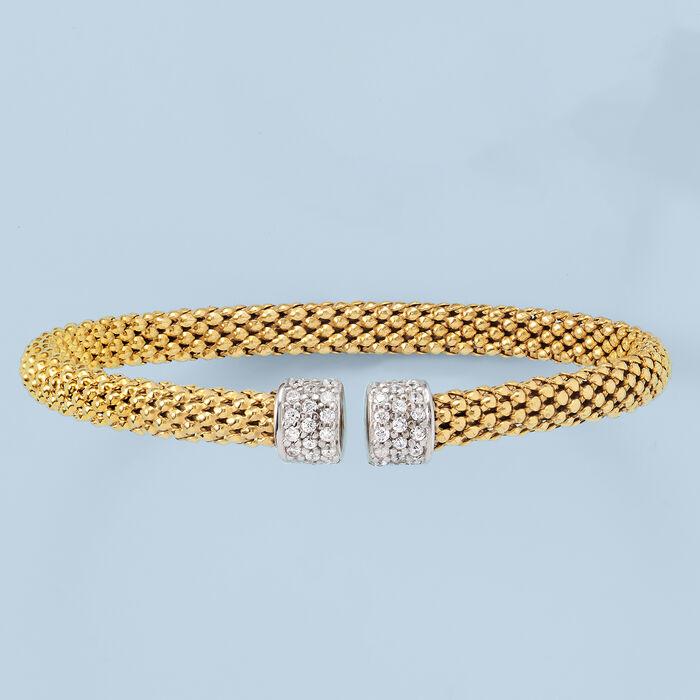 Italian .20 ct. t.w. CZ Cuff Bracelet in 18kt Gold Over Sterling Silver Cuff Bracelet