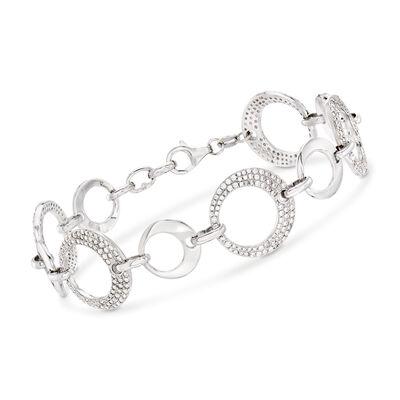 .70 ct. t.w. CZ Interlocking Circle Bracelet in Sterling Silver, , default