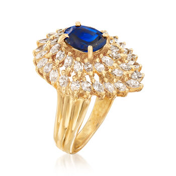 C. 1980 Vintage 1.55 ct. t.w. Diamond and 1.05 Carat Sapphire Ring in 18kt Yellow Gold. Size 6, , default