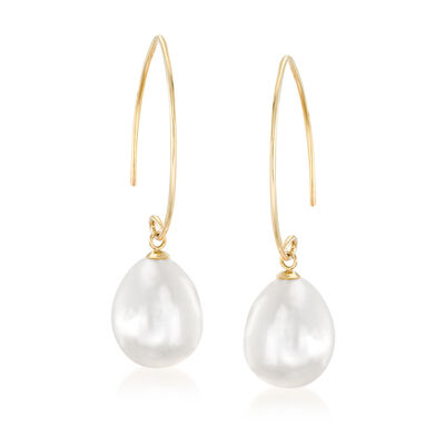 11-12m Cultured South Sea Pearl Drop Earrings in 14kt Yellow Gold, , default