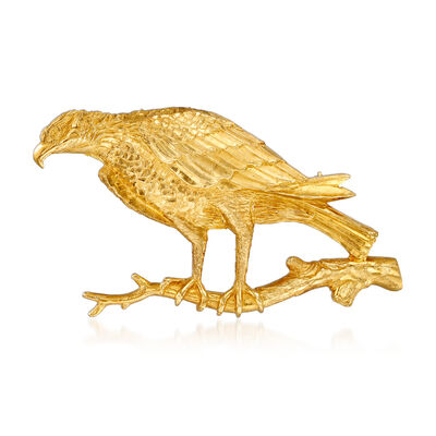 C. 1980 Vintage 18kt Yellow Gold Eagle on Branch Pin, , default