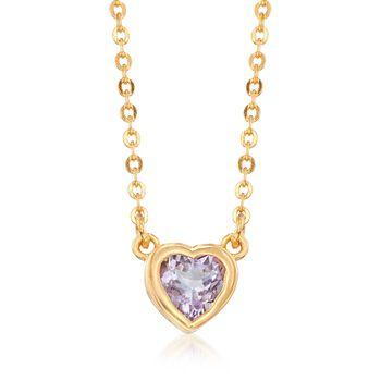 """.40 Carat Bezel-Set Mini Amethyst Heart Necklace in 18kt Gold Over Sterling. 18"""", , default"""