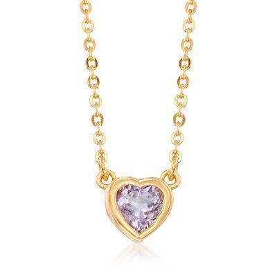.40 Carat Bezel-Set Mini Amethyst Heart Necklace in 18kt Gold Over Sterling, , default