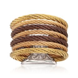 "ALOR ""Classiqe"" Tri-Colored Stainless Steel Multi-Cable Ring With 18kt Yellow Gold. Size 7, , default"