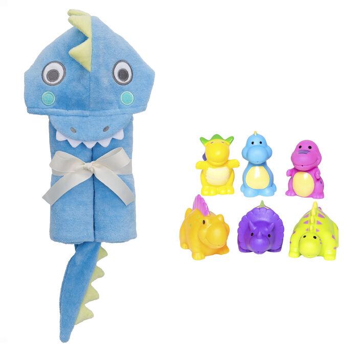 Elegant Baby Dinosaur Bath Towel and Squirtie Toys Bath Set