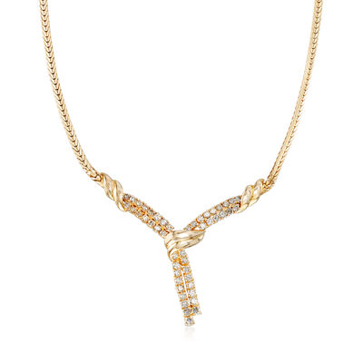 C. 1990 Vintage 3.00 ct. t.w. Diamond Lariat Necklace in 14kt Yellow Gold, , default