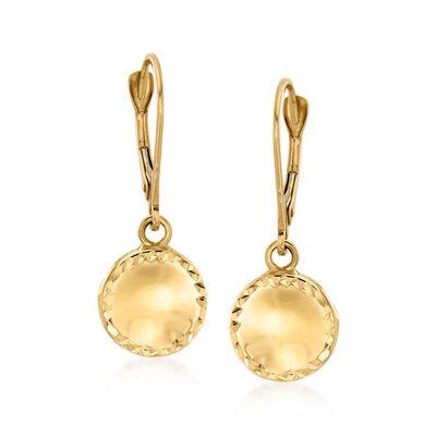 Italian 14kt Yellow Gold Circle Drop Earrings, , default