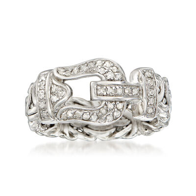 .27 ct. t.w. Diamond Byzantine Buckle Ring in Sterling Silver, , default