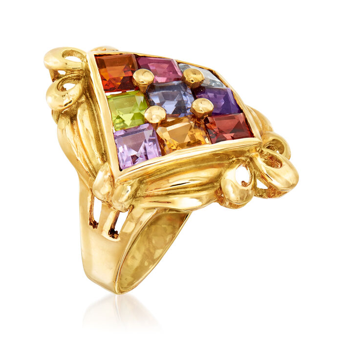 C. 1980 Vintage 2.97 ct. t.w. Multi-Gemstone Ring in 18kt Yellow Gold