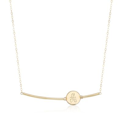 14kt Yellow Gold Single Initial Bar Necklace, , default