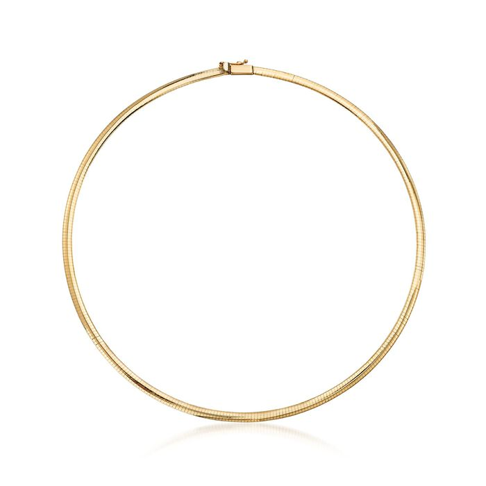 Italian 4mm 18kt Yellow Gold Omega Necklace, , default
