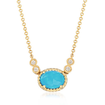 Gabriel Designs Synthetic Turquoise and 1.10 Carat Rock Crystal Quartz Necklace with Diamond Accents in 14kt Gold