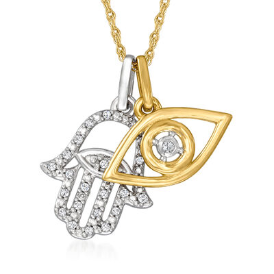 14kt Two-Tone Gold Hamsa Hand and Evil Eye Pendant Necklace with Diamond Accents