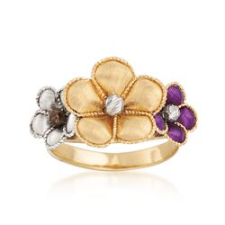 Italian 18kt Multicolored Gold Flower Ring. Size 8, , default