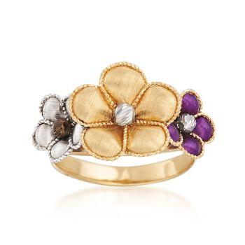 Italian 18kt Multicolored Gold Flower Ring. Size 8, , default