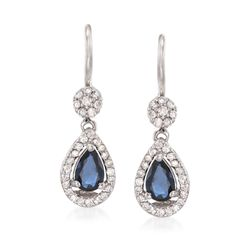 1.00 ct. t.w. Sapphire and .34 ct. t.w. Diamond Drop Earrings in 14kt White Gold, , default