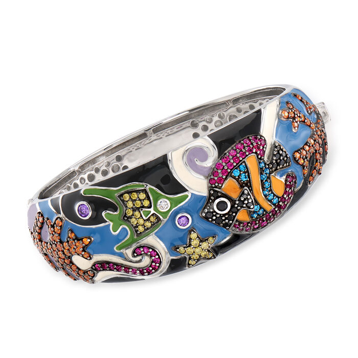 "Belle Etoile ""Under the Sea"" Multicolored Enamel and 4.35 ct. t.w. CZ Bangle Bracelet in Sterling Silver. 7.5"", , default"