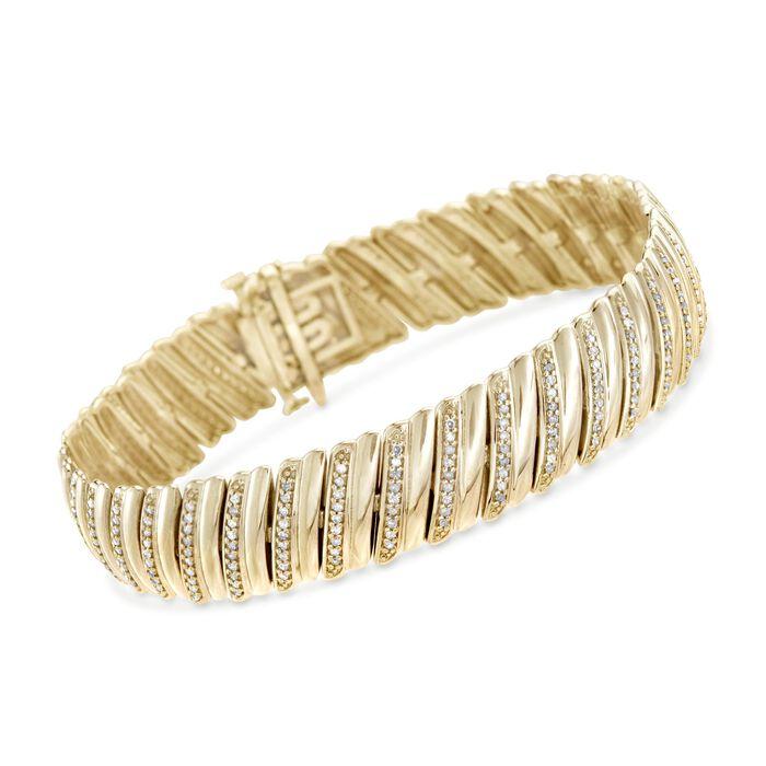 """1.00 ct. t.w. Diamond Diagonal Bar Bracelet in 14kt Gold Over Sterling. 7"""", , default"""