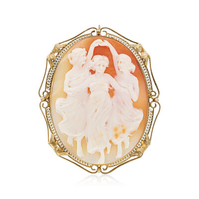 C. 1950 Vintage Shell Three Graces Cameo Pin/Pendant in 14kt White Gold, , default