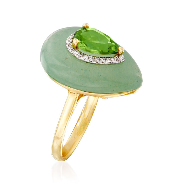19x14mm Aventurine and 1.20 Carat Peridot Ring with Diamond Accents in 14kt Yellow Gold
