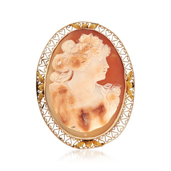 C. 1950 Vintage 44x33mm Shell Cameo Pin in 14kt Yellow Gold