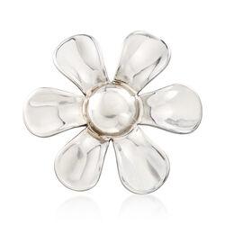 Italian Sterling Silver Flower Pin, , default