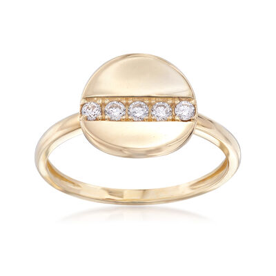 .15 ct. t.w. CZ Concave Disc Ring in 14kt Yellow Gold, , default