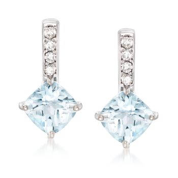 "2.00 ct. t.w. Aquamarine and .12 ct. t.w. Diamond Drop Earrings in 14kt White Gold. 5/8"", , default"