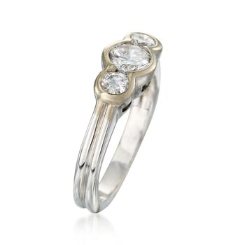 C. 1990 Vintage .80 ct. t.w. Bezel-Set Diamond Ring in 18kt White Gold. Size 5.25, , default