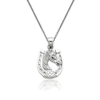 "14kt White Gold Horseshoe Pendant Necklace. 18"", , default"