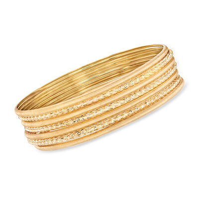Italian 14kt Yellow Gold Jewelry Set: Seven Textured Bangle Bracelets