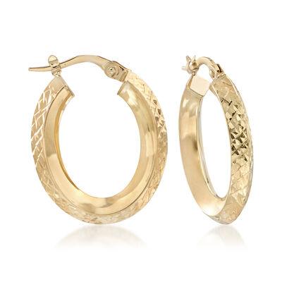 Italian 18kt Yellow Gold Diamond-Cut and Polished Knife-Edge Hoop Earrings, , default