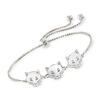 Italian Sterling Silver Cat Trio Bolo Bracelet, , default