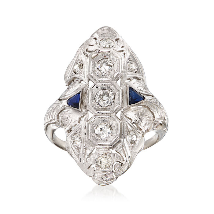 C. 1980 Vintage .65 ct. t.w. Diamond and .25 ct. t.w. Simulated Sapphire Filigree Ring in 18kt White Gold
