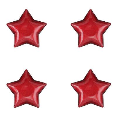 """Vietri """"Festa"""" Set of 4 Red Glass Star Dishes"""