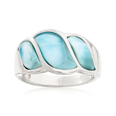 Larimar Wave Ring in Sterling Silver, , default