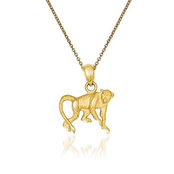 "14kt Yellow Gold Monkey Pendant Necklace. 18"", , default"