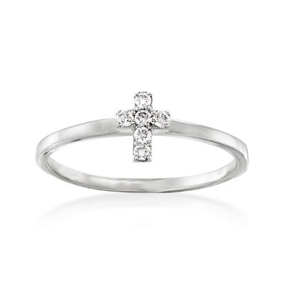 Diamond-Accented Cross Ring in 14kt White Gold