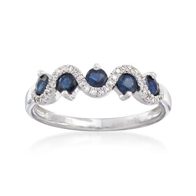 .70 ct. t.w. Sapphire and .10 ct. t.w. Diamond Ring in 14kt White Gold, , default