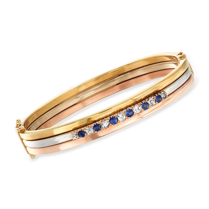 """C. 1930 Vintage .60 ct. t.w. Diamond and .50 ct. t.w. Sapphire Bangle Bracelet in 14kt Tri-Colored Gold. 7.5"""""""