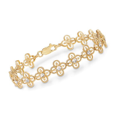 14kt Yellow Gold Floral-Link Bracelet, , default