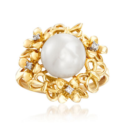 9-10mm Cultured Pearl Flower and Butterfly Ring with Diamond Accents in 14kt Yellow Gold, , default